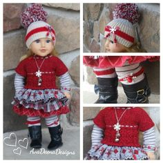 Christmas outfit clothes for 18 inch doll american girl doll handmade by AvaDeenaDesigns on Etsy