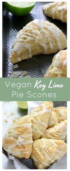 Vegan Key Lime Pie Scones - Eat. Drink. Shrink. Vegan Treats, Vegan Snacks, Vegan Desserts, Snack Recipes, Vegan Food, Scones, Vegan Key Lime Pie, Vegan Breakfast Options, Delicious Vegan Recipes