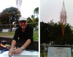 Christchurch artist Neil Dawson putting up the sponsors signs at his 'Spire' in Latimer Square