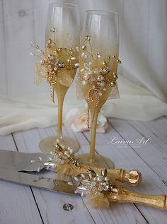 Boda oro Champaña flautas estilo Gatsby de copas de por LaivaArt