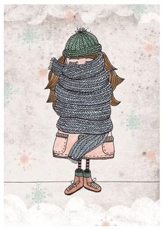 """Print """"Scarf girl"""" in winter decoration for home, illustration / illustr . - Print """"Scarf girl"""" in winter decoration for home, illustration with winter girl made by Iloveyo - Art And Illustration, Illustration Mignonne, Art Illustrations, Winter Drawings, Art Mignon, Winter Art, Christmas Art, Cute Art, Art Drawings"""
