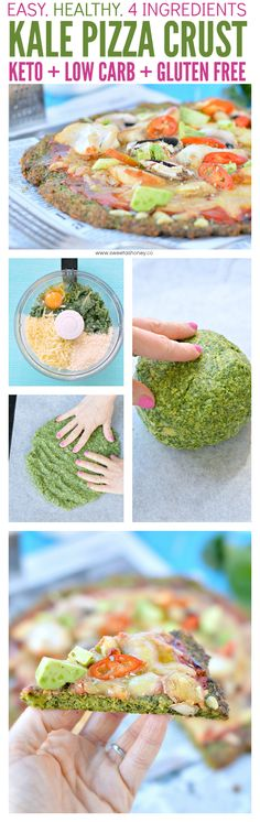 Kale Pizza Crust Healthy low carb crust made with 4 simple ingredients. Simple and kids friendly. Kale Pizza, Vegetarian Pizza, Low Carb Vegetarian Recipes, No Dairy Recipes, Healthy Eating Recipes, Paleo Recipes, Healthy Food, Healthy Dishes, Gluten Free Appetizers