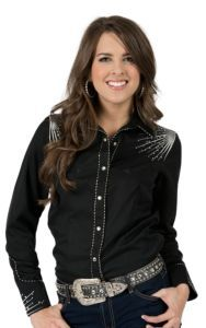 Panhandle Slim® Women's Black with Silver Starburst Embroidery and Rhinestones Long Sleeve Retro Western Shirt | Cavender's