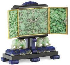 AN ART DECO LAPIS LAZULI, JADE AND DIAMOND ELEPHANT DESK CLOCK, BY OSTERTAG  | The House of Beccaria