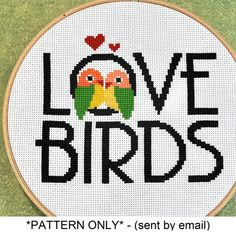 Love Birds Cross Stitch Pattern Download, sent by email