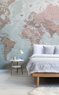Quality Classic World Map Mural, custom made to suit your wall size, and fully customisable. A classic wallpaper style that will be timeless in your space. World Map Mural, World Map Wallpaper, Wall Wallpaper, Fall Home Decor, Cheap Home Decor, Classic Interior, Minimalist Decor, Interior Inspiration, Wall Murals