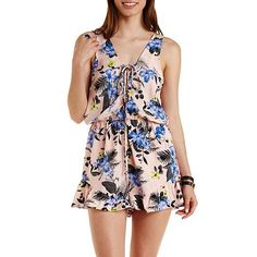 Floral Print Lace-Up Front Romper: Charlotte Russe
