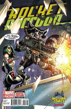 #MARVEL now [] digital edition [] #MidTownComics [] #rocketraccoon [] http://marvel.wikia.com/Rocket_Raccoon_Vol_2_1 [] variant cover edition []