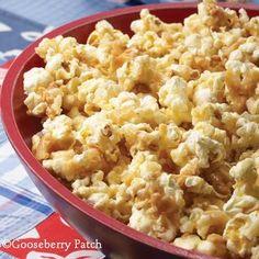 Almond Toffee Popcorn Snack Recipe @Fiona I Like Gooseberries Patch