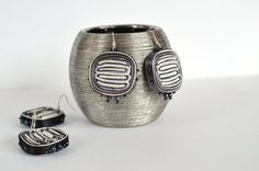 Earrings white black, earrings grey white, fiber earrings - Textile jewelry OOAK ready to ship on Etsy, $35.00