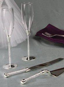 Amazon.com: RaeBella Wedding Toasting Flutes & Cake Knife Server Set FREE ENGRAVING Tube Stem with Crystal Stones Filled Stemmed: Everything Else $80