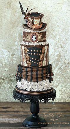 #Steampunk #wedding #cake made by Sweetlake Cakes