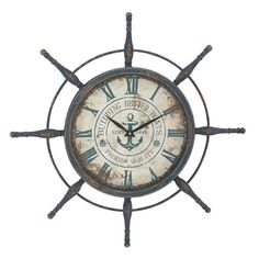 Features:  -Material: Metal.  -Color: Rustic blue.  -Textured.  -Style: Traditional.  Product Type: -Oversized.  Style: -Traditional.  Finish: -Rustic blue.  Shape: -Round.  Theme: -Nautical.  Primary