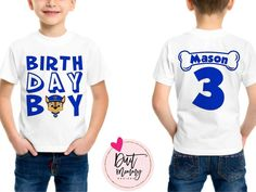 Embroidered Family Shirts for Birthday Parties, Trips, Special Occasions Paw Payrol Birthday, 3rd Birthday Party For Boy, Paw Patrol Birthday Theme, 2nd Birthday Shirt, Paw Patrol Birthday Shirts, Birthday Ideas, Third Birthday, Paw Patrol Party Decorations, Cumple Paw Patrol