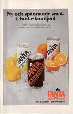 Fanta Black Orange - In the mid in Sweden, half Coke, half Fanta Orange… Soda Brands, Pop Ads, When I Grow Up, Interesting History, Make You Smile, Coca Cola, Childhood Memories, Growing Up, Make It Yourself