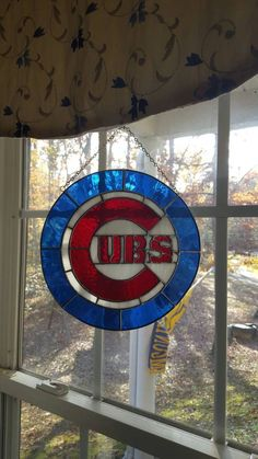Chicago Cubs Stained Glass Piece by on Etsy Chicago Art, Chicago Cubs Logo, Stained Glass Patterns, Stained Glass Art, Art Institute Of Chicago, Cubbies, Vintage Posters, Photo Art, Watercolor Paintings
