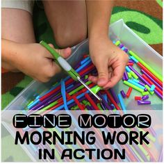 Fine Motor Work Stations In Action in Kindergarten.  Tons of great ideas and tips for a successful morning routine without worksheets.