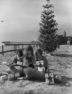 Opening Christmas gifts in Long Beach California, 1920