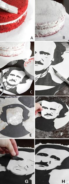 Portrait of Poe in Fondant                                                                                                      1/4 lb. white ready make fondant  1/4 lb black ready made fondant  X-acto knife  Small artist's brush  This free clipart template printed at 200%