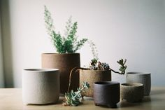 3-legged ceramic planters by Bridget Bodenham