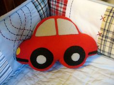 Super cute plush car. Would be awesome for a little boys' room! [Quarter Life Luck | Etsy]