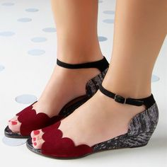 Women's Red Ankle Strap Sandals Buckle Wedge Comfortable Flats Hury! Women's Red Ankle Strap Sandals Buckle Wedge Comfortable Flats Pretty Shoes, Beautiful Shoes, Cute Shoes, Me Too Shoes, Buy Shoes Online, Comfortable Flats, How To Make Shoes, Shoe Boots, Ankle Boots