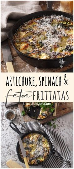 Artichoke, Spinach & Feta Frittatas make a wonderful addition to any brunch whether you're entertaining of it's just you & your love, these are make-ahead Artichoke Spinach, Spinach And Feta, Christmas Brunch, Christmas Morning, Breakfast Recipes, Breakfast Ideas, Frittata, Healthy Recipes, Healthy Food