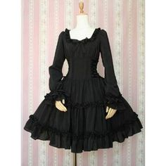 Little black bow lace long-sleeved dress