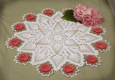 Crochet Floral Vintage Doily Patterns - Stars and Roses Doily Pattern