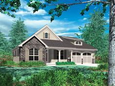 Bungalow plans merge organic beauty with easy living spaces, and are perfect for small lots that are hard to build on. With distinctive porches and eaves, our plans create comfortable homes for today's modern families. Cottage Style House Plans, House Plans One Story, Cottage Style Homes, Country House Plans, Dream House Plans, Small House Plans, House Floor Plans, Bungalow Homes, Craftsman Cottage