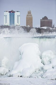 Frozen Niagara Falls -- The cold weather will also bring with it high winds, this time some reaching 40 mph in areas in NYC