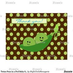 Twins Peas in a Pod Baby Shower Thank You Postcard