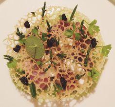 """4th Course (Artisan): Sheep Curd/Aubergine/Smoked Eel/Caviar @ Restaurant Andre, #Singapore."""