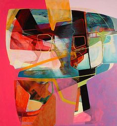 Lovestruck by the colorful abstract drawings and paintings of Nick Lamia.