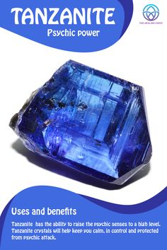 crystal meanings Tanzanite Meaning Tanzanite healing crystals benefits, Tanzanite crystals meanings, how to use Tanzanite crystals. Tanzanite stones for beginners, h Chakra Crystals, Crystals Minerals, Crystals And Gemstones, Stones And Crystals, Blue Crystals, Blue Stones, Gem Stones, Crystal Healing Stones, Crystal Magic