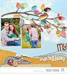 You can always enjoy the nature beauty with this leaf themed layout. Learn how to 5 scrapbook ideas Wedding Scrapbook, Scrapbook Paper Crafts, Scrapbook Cards, Scrapbook Photos, Disney Scrapbook, Scrapbook Sketches, Scrapbook Page Layouts, Foto Baby, American Crafts