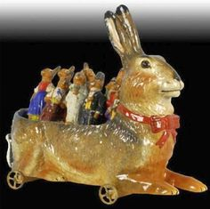 It's almost Easter. Rabbit Time !!! -- German Paper Mache Rabbit Antique Toy Skittles Set - Marked on bottom DRGM.