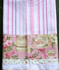 OMG! Its so pretty! Pink and white tea towel. by Decorative Towels - Created by Cath., via Flickr