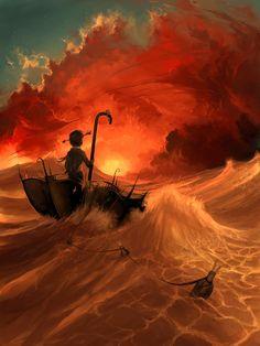 orange waves burnt through the fiery sky