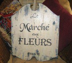 Vintage French Flower Market Sign LE MARCHE AUX by MyPaintedPorch