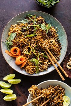 Quick and simple 30 Minute Caramelized Shallot Beef Ramen Noodles. For nights when you're craving spicy Asian inspired noodles, but just can't make it out! Caramelized Shallots, Crispy Beef, Half Baked Harvest, Tasty, Yummy Food, Ramen Noodles, Asian Noodles, Food Staples, Ground Beef Recipes