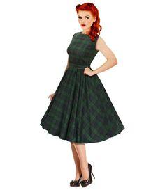 black watch tartan vintage style swing dress by british retro | notonthehighstreet.com
