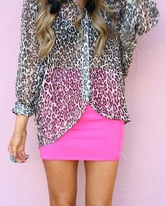 Hot pink mini with a leopard print blouse.