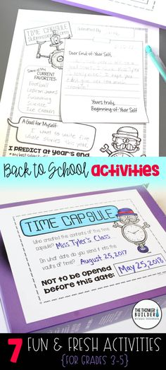 "Fun and fresh get-to-know-you activities for the beginning of the year, including an easy to make class ""Time Capsule,"" a ""Truth, Twist, or Total Fake!"" writing activity, build-your-own ""About Me"" dice, and more! 7 total activities, perfect for back-to-school! Gr. 3-5 ($). Click the image for details, or see the bundle of BOTH my Get-to-Know-You Activity Packs here: https://www.teacherspayteachers.com/Product/Back-to-School-Activities-Get-To-Know-You-BUNDLE-2-Packs-1984515"