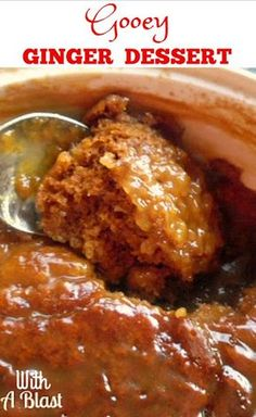 Gooey Ginger Dessert is as sticky and sweet as it looks ! Best served with ice-cream or whipped cream - enough for a crowd ! Pudding Desserts, Pudding Cake, Köstliche Desserts, Dessert Recipes, Pudding Recipes, Yummy Recipes, Ginger Pudding Recipe, Malva Pudding, Self Saucing Pudding