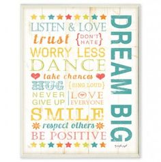 Dream Big Kids Typography Rules Rect
