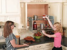 Pull Down Storage For High Cabinets. This Is Kinda Neat! Folds Back Up To