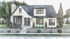 1.5 Story Modern Cottage Style Plan | Fox Hills    #advancedhouseplans #houseplan #floorplan #homeplans #designbuild #readytobuild #homeideas #exteriorhomeideas #curbappeal #moderncottage #cottageexterior #moderneuropeancottage #foxhills #privatepatio #mastersuite Cottage Style Front Doors, Modern Cottage Style, French Cottage Style, Cottage Style Furniture, Cottage Style House Plans, Cottage Floor Plans, Cottage Style Homes, French Country, French Farmhouse