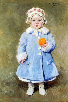 Child With An Orange-Julius Garibaldi Melchers (1860 – 1932, American)
