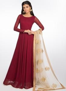 Red Georgette Anarkali With Embroidered Dupatta